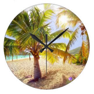 Palme-Strand-Uhr Große Wanduhr