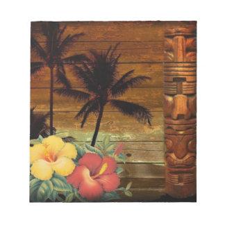 Palme-Totemtropischer BlumenHibiskus Hawaiianer Notizblock