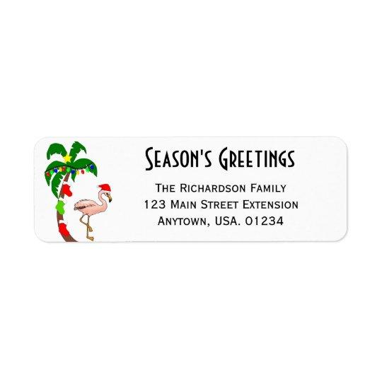 Palme-und Flamingo-tropisches Weihnachten Rücksendeetikett