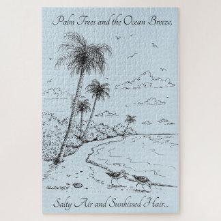 Palme-und Flussuferläufer-Strand-Leben Puzzle
