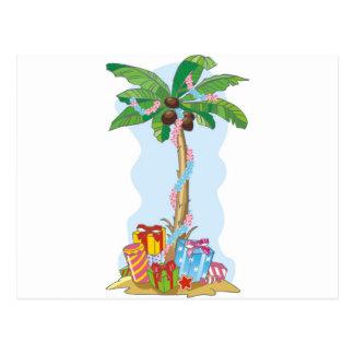 Palme-Weihnachten mit Geschenken Postkarte