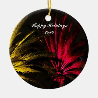Palme-Weihnachtsverzierung Rundes Keramik Ornament