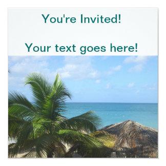 Palmen am Strand Quadratische 13,3 Cm Einladungskarte
