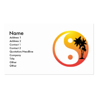 Palmen an Sonnenuntergang Yin Yang Visitenkarte