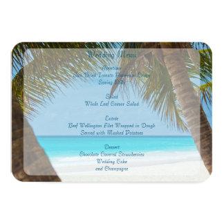 Palmen auf Strand-Hochzeits-Menü-Einladungen Karte