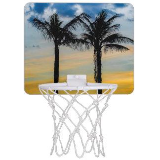 Palmen gegen Sonnenuntergang-Himmel Mini Basketball Ring