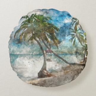 Palmen im Amber Caye Belize Rundes Kissen