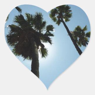 Palmen Los Angeles Hollywood USA Herz-Aufkleber