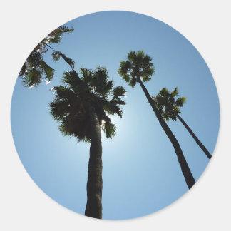 Palmen Los Angeles Hollywood USA Runder Aufkleber