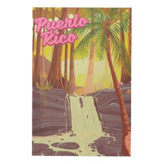 Palmen-Reiseplakat Puertos Rico tropisches Holzleinwand