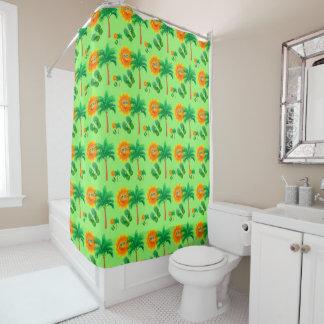 Palmen, Sonnenschein und drehen Reinfälle um Duschvorhang
