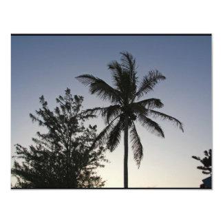 Palmen-Sonnenuntergang 10,8 X 14 Cm Einladungskarte