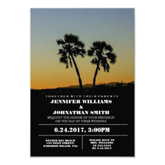 Palmen-Typografie-Hochzeit in 8,9 X 12,7 Cm Einladungskarte