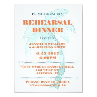Palmen-Typografie-Proben-Abendessen-Einladungen 10,8 X 14 Cm Einladungskarte