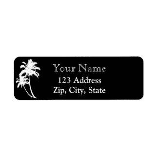 Palmen und NamensRücksendeadresse Schwarz-weiß