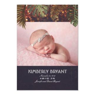 Palmen-und Schnur-Licht-Strand-Foto-Baby-Geburt Karte