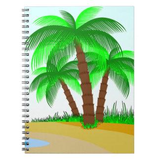 Palmen und Strand Spiral Notizblock