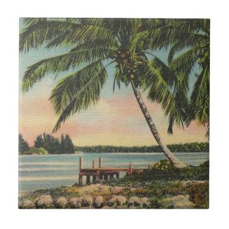 Palmen Vintag Kleine Quadratische Fliese