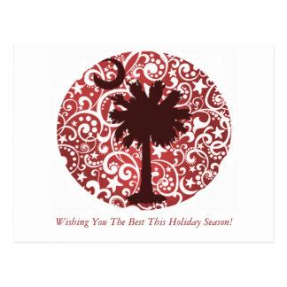 Palmetto-Baum-und Mond-Weihnachtspostkarten Postkarte