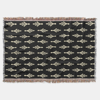 Palmwedel-Muster ecru auf Schwarzem Decke