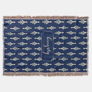 Palmwedel-Muster-Name ecru auf dunkelblauem Decke