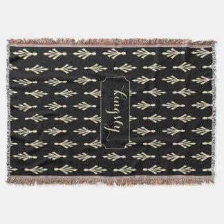 Palmwedel-Muster-Name ecru auf Schwarzem Decke