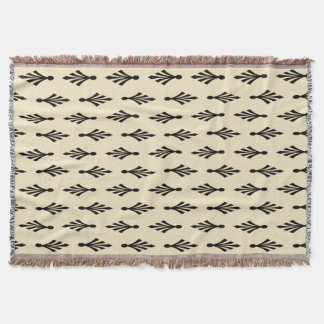 Palmwedel-Musterschwarzes auf ecru Decke