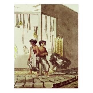 Pampa-amerikanischer Ureinwohner an einem Speicher Postkarte