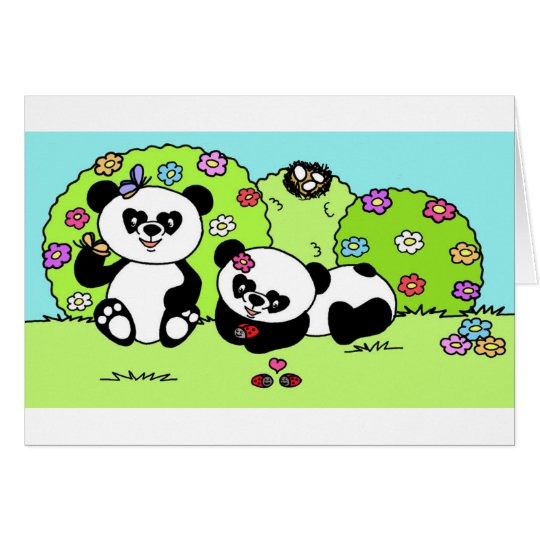 panda and butterfly karte