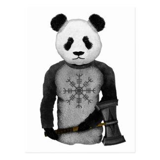 Panda-Bär, der Viking-Hammer des Thors hält Postkarte