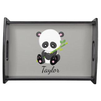 Panda-Bär grau und schwarz Serviertablett