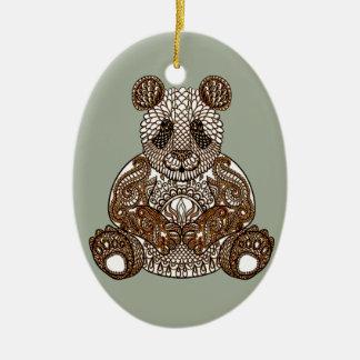 Panda-Bär Ovales Keramik Ornament