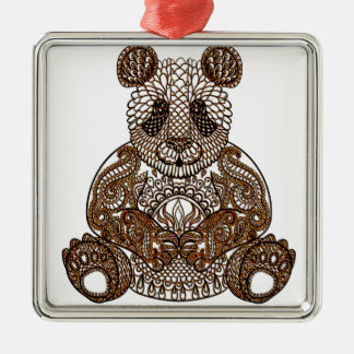 Panda-Bär Quadratisches Silberfarbenes Ornament
