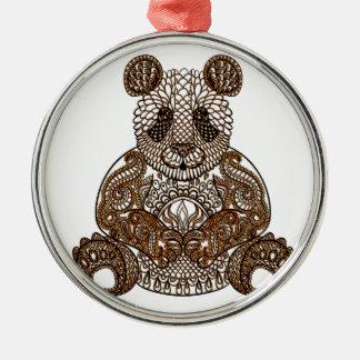 Panda-Bär Rundes Silberfarbenes Ornament