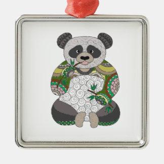 Panda-Bär Silbernes Ornament