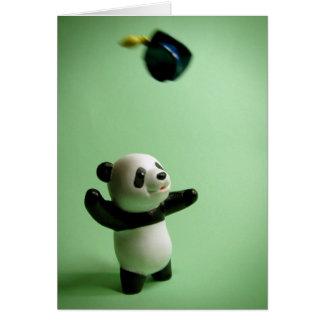 Panda-Bärn-Abschluss-KappeThrow Grußkarte