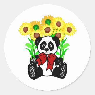 Panda-Bärn-Blumen Runder Aufkleber