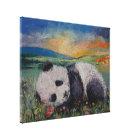 Panda-Blumen Leinwanddruck