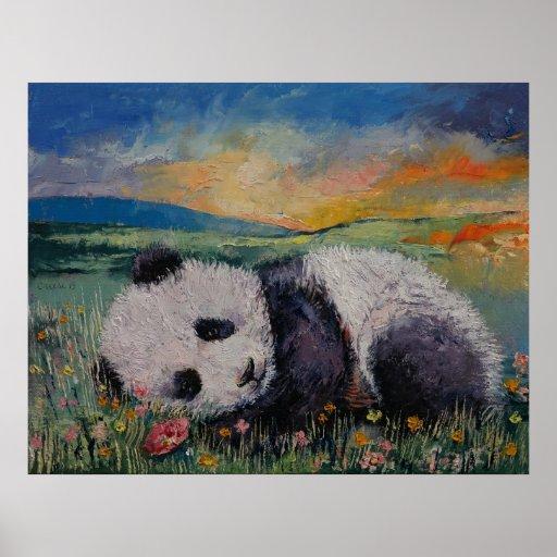 Panda-Blumen Plakatdruck