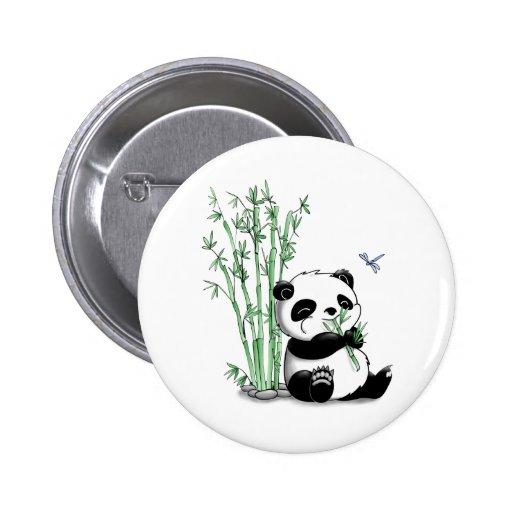 Panda, der Bambus isst Buttons