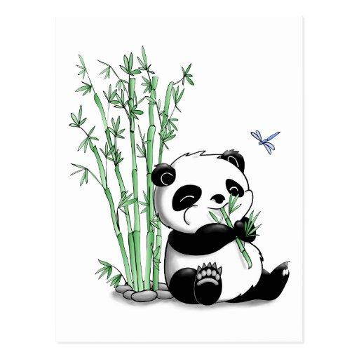 Panda, der Bambus isst Postkarte