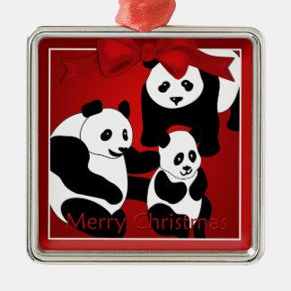Panda-Familie Prämien-Verzierung der Silbernes Ornament