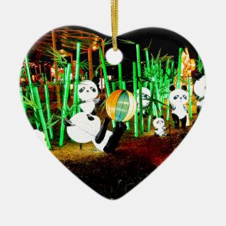 Panda-Garten leuchten Nachtphotographie Keramik Herz-Ornament