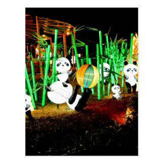 Panda-Garten leuchten Nachtphotographie Postkarte