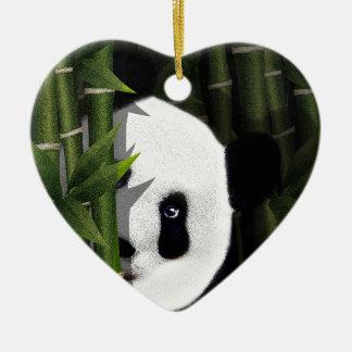 Panda Keramik Herz-Ornament