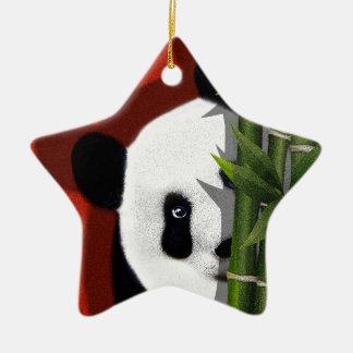 Panda Keramik Stern-Ornament