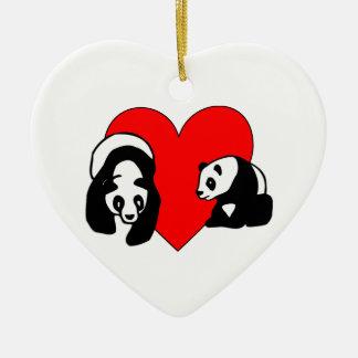 Panda-Liebe Keramik Ornament