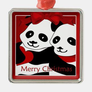 Panda-Liebe-Paar-Weihnachtsprämien-Verzierung Silbernes Ornament