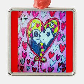 Panda-Liebe Silbernes Ornament