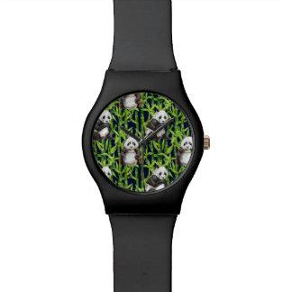 Panda mit BambusAquarell-Muster Uhr